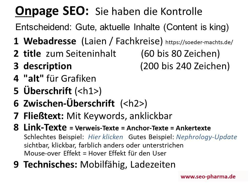 SEO Onpage Suchmaschinen-Optimierung